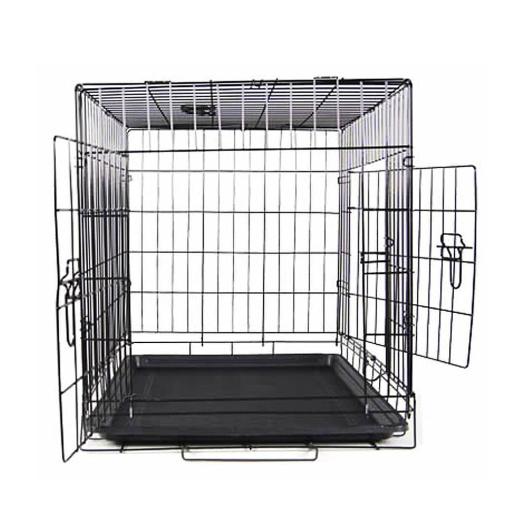 Puppy Dog Portable Dog Crate Dual Door Cage Secure Chrome Black Two Large Doors