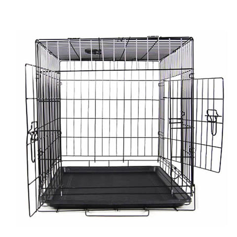Image of Puppy Dog Portable Dog Crate Dual Door Cage Secure Chrome Black Two Large Doors