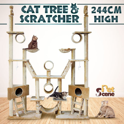 Image of Cat Tree 244Cm Multi Level Gym Play Centre With Hammock - Plush Material