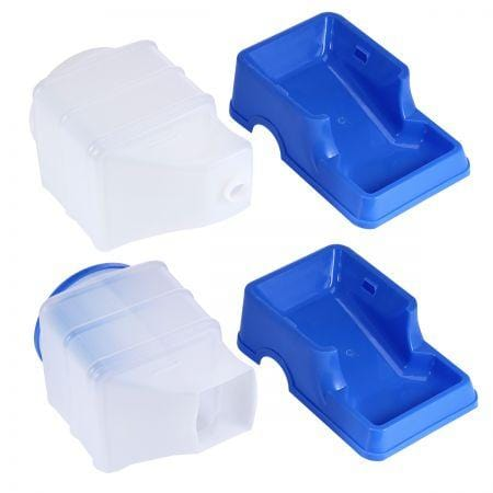 2 Auto Dog Cat Bird Rabbit Guinea Pigs Feeder & Water Dispenser Set - Blue