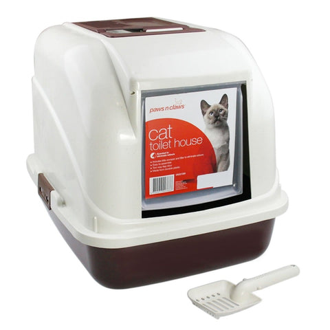 Image of Paws N Claws Hooded Cat Litter Tray With Door Flap & Scoop