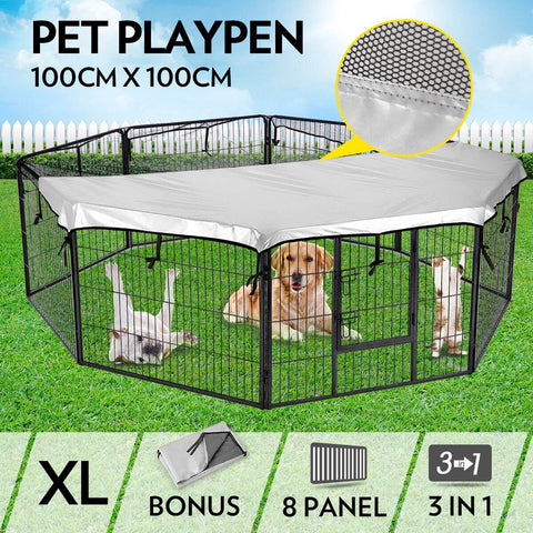 Image of 8-Panel Pet Playpen Dog Cat Enclosure 100cm x 100cm Everyday Pets