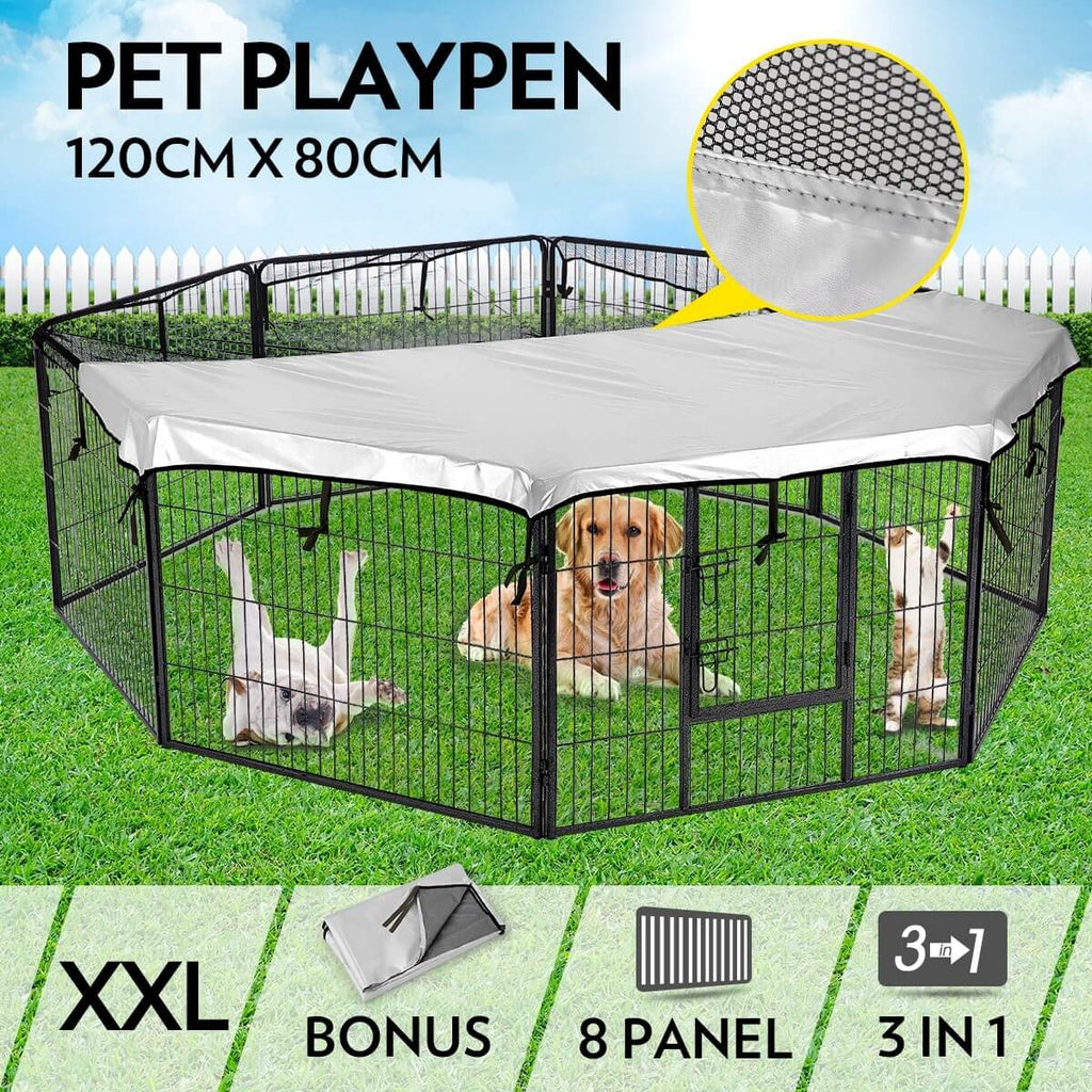 8-Panel Pet Playpen Dog Cat Enclosure 120cm x 80cm Everyday Pets