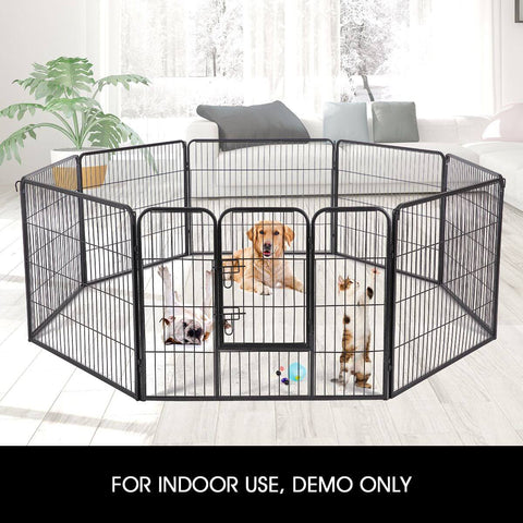 Image of 8-Panel Pet Playpen Dog Cat Enclosure With Fabric Cover