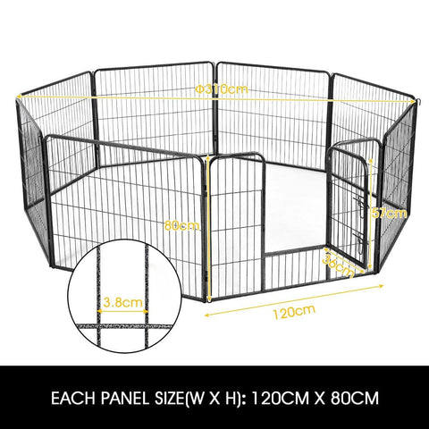 Image of 8-Panel Pet Playpen Dog Cat Enclosure Product Dimensions 120cm x 80cm Everyday Pets