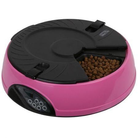 Image of 6 Compartment Programmable Pet Feeder With Recordable Message And Built-In Microphone Fuchsia
