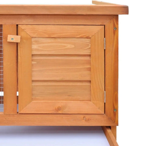 Image of Outdoor Rabbit Hutch 1 Layer Wood