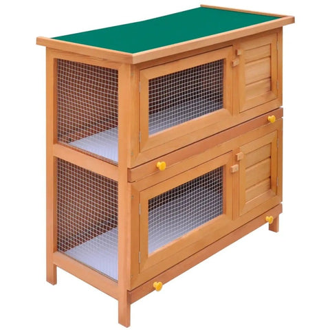 Image of Outdoor Rabbit Hutch Small Animal House Pet Cage 4 Doors Wood