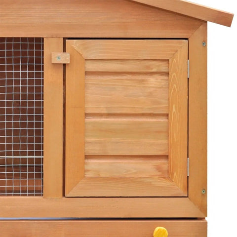 Image of Outdoor Rabbit Hutch Small Animal House Pet Cage 3 Doors Wood