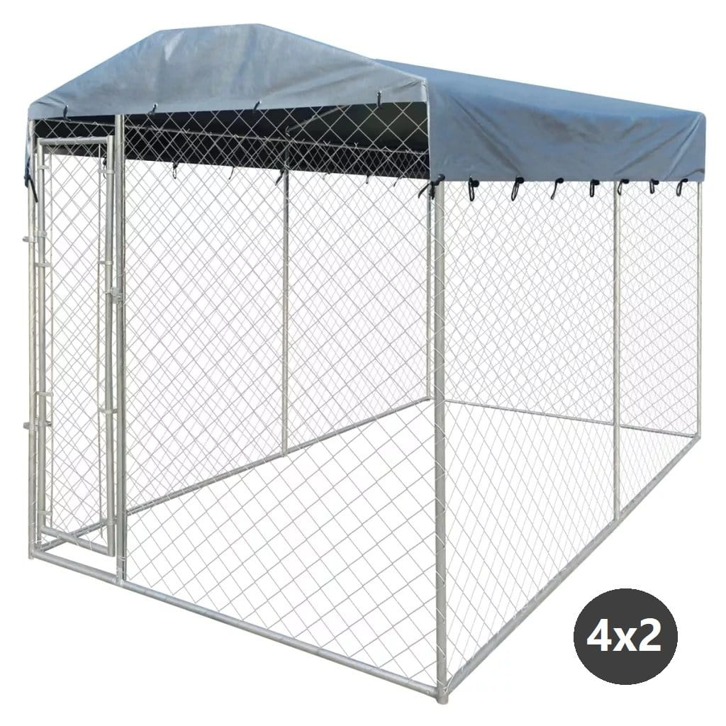Dog Kennel Pet Run with Fire Resistant UV Protection Canopy Top 192 x 192 x 235 cm