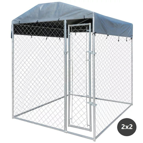 Image of Dog Kennel Pet Run with Fire Resistant UV Protection Canopy Top 192 x 192 x 235 cm