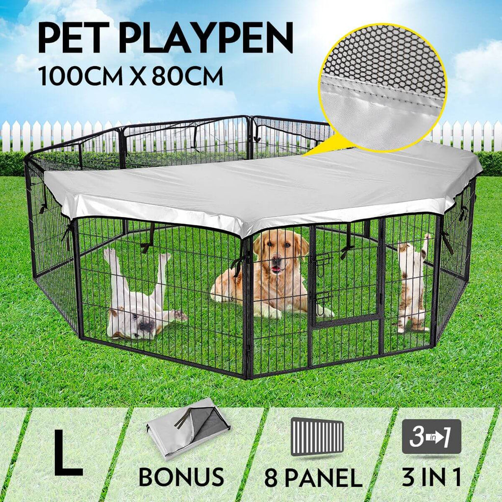 8-Panel Pet Playpen Dog Cat Enclosure 100cm x 80cm Everyday Pets