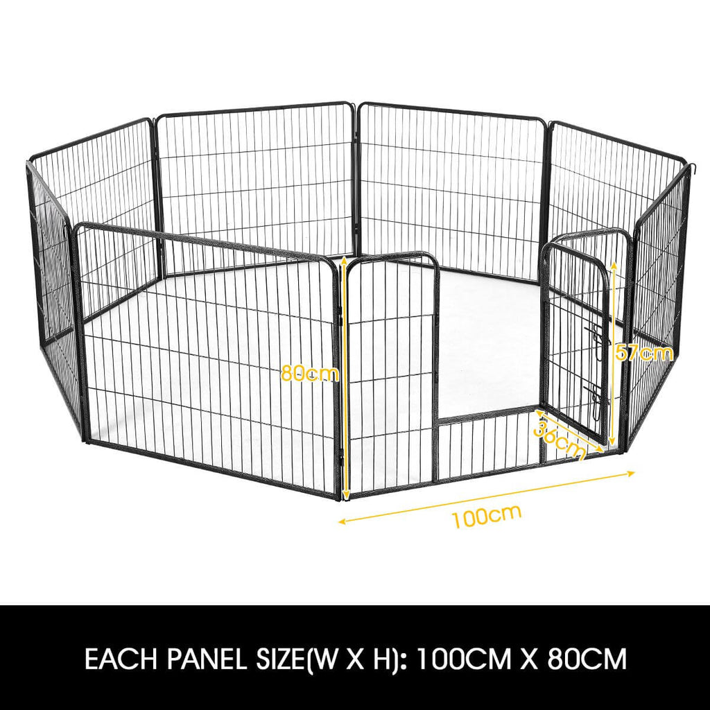 8-Panel Pet Playpen Dog Cat Enclosure Product Dimensions 100cm x 80cm Everyday Pets