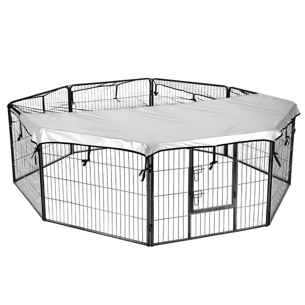8-Panel Pet Playpen Dog Cat Enclosure with Fabric Cover