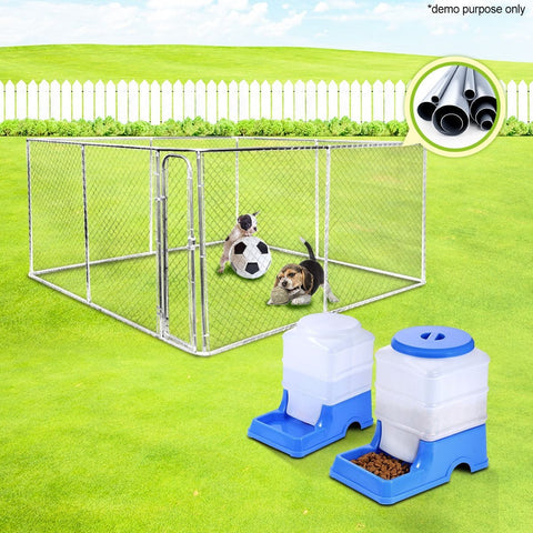 Image of Pet Enclosure Run and Pet Feeder and Water Dispenser Set 4m x 4m
