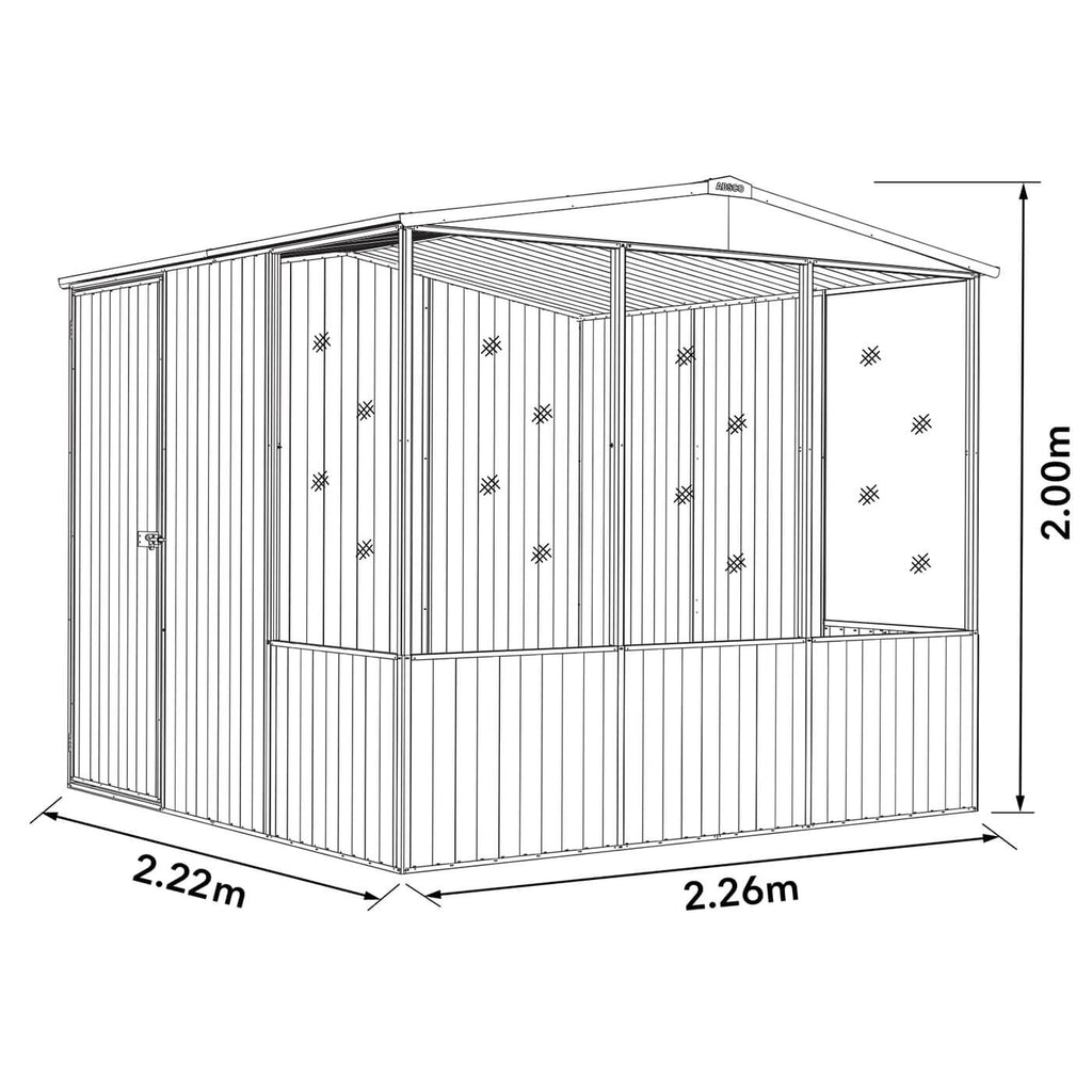 Absco Chicken Coop 2.26mL x 2.22mW x 2.00mH Dimensions
