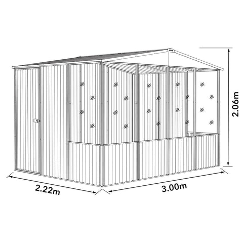 Absco Chicken Coop 3.00mL x 2.22mW x 2.06mH Dimensions