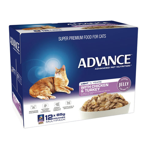 Image of Advance Adult Cat Light Wet Cat Food Pouch Chicken & Turkey in Jelly 12 x 85gm