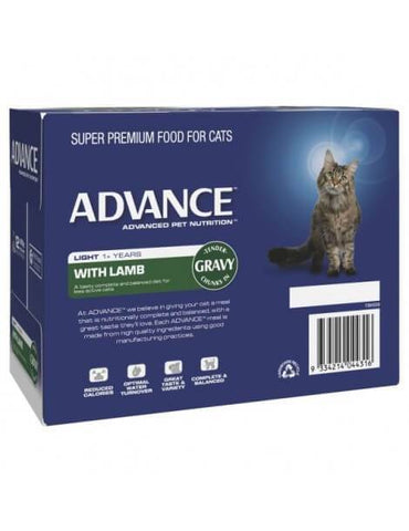 Image of Advance Adult Cat Light Wet Cat Food Pouch Lamb with Gravy 12 x 85gm Back Part