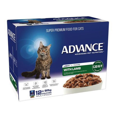 Image of Advance Adult Cat Light Wet Cat Food Pouch Lamb with Gravy 12 x 85gm
