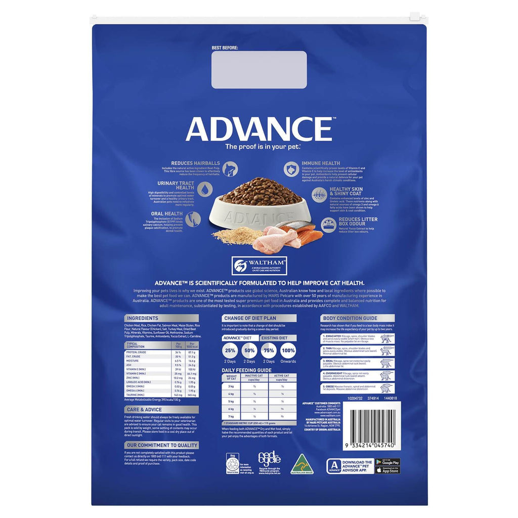 Advance Adult Cat Total Wellbeing Dry Cat Food Chicken & Salmon 6kg Back Part