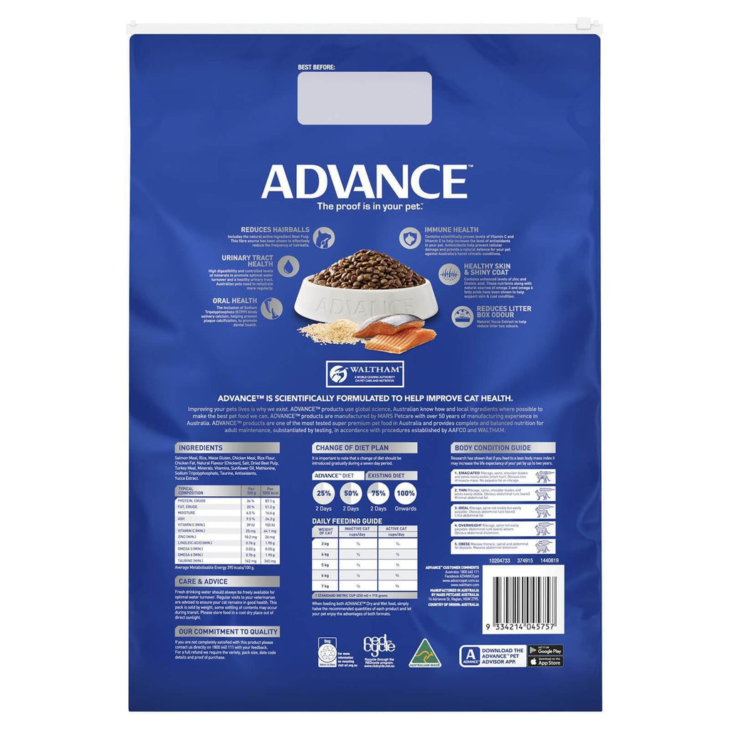 Advance Adult Cat Total Wellbeing Dry Cat Food Ocean Fish 6kg Back