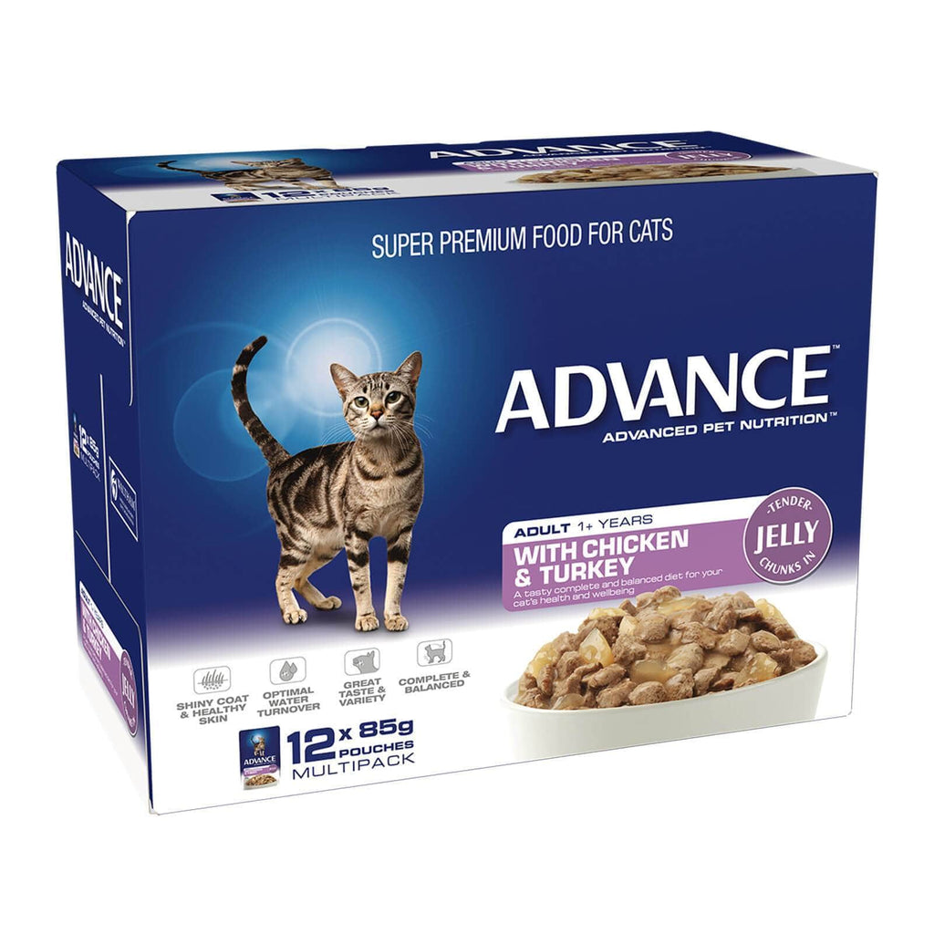 Advance Adult Cat Wet Cat Food Pouch Chicken & Turkey in Jelly 12 x 85gm Back Part