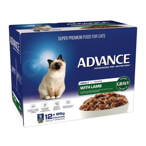 Image of Advance Adult Cat Wet Cat Food Pouch Lamb with Gravy 12 x 85gm