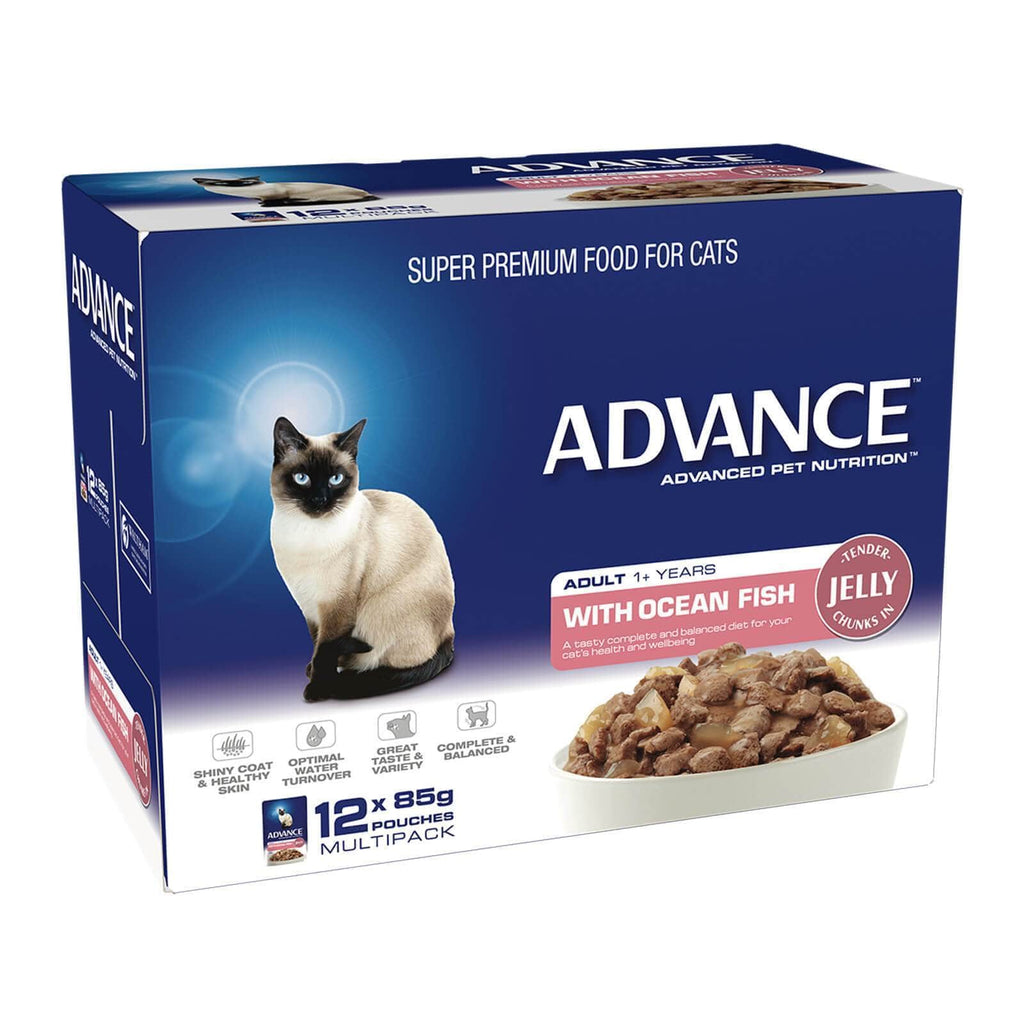 Advance Adult Cat Wet Cat Food Pouch Ocean Fish in Jelly 12 x 85gm