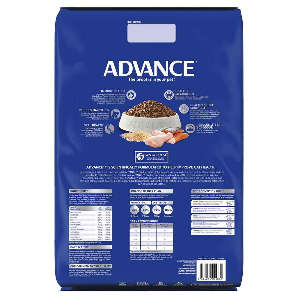 Advance Adult Multi Cat Dry Cat Food Chicken & Salmon 20kg Back Part