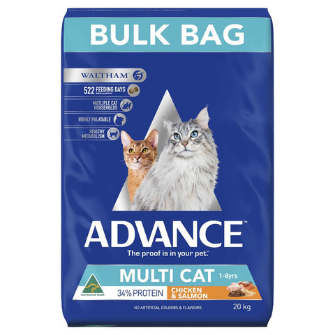 Image of Advance Adult Multi Cat Dry Cat Food Chicken & Salmon 20kg