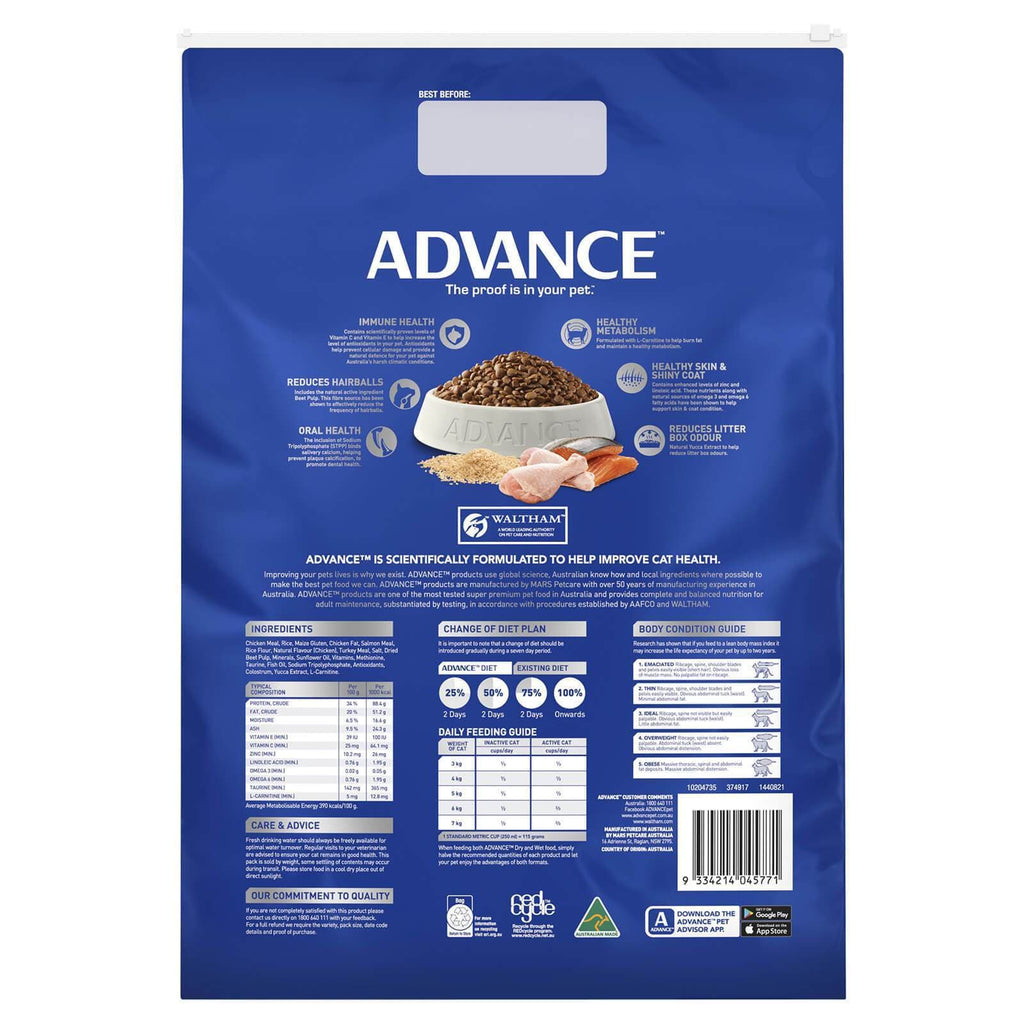 Advance Adult Multi Cat Dry Cat Food Chicken & Salmon 6kg  Back Part