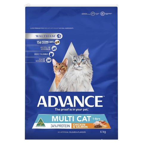 Image of Advance Adult Multi Cat Dry Cat Food Chicken & Salmon 6kg