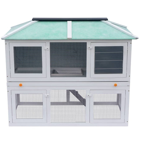 Image of Animal Rabbit Cage Double Floor Red Wood 130 x 68 x 105 cm High Quality Hutch 2 Layers Everyday Pets