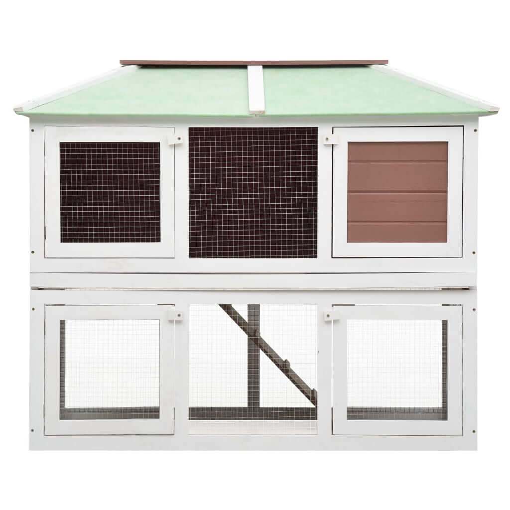 Animal Rabbit Cage Double Floor White and  Brown Wood 130 x 68 x 105 cm High Quality Hutch 2 Layers Everyday Pets