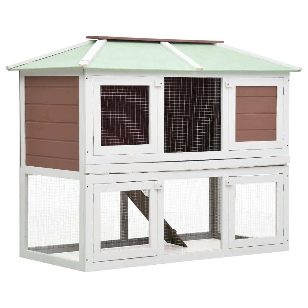 Animal Rabbit Cage Double Floor White and Brown Wood 130 x 68 x 105 cm Everyday Pets