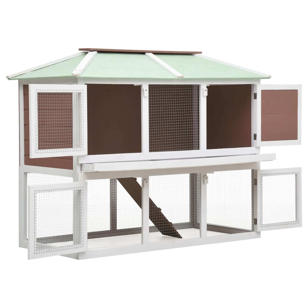 Animal Rabbit Cage Double Floor White and  Brown Wood 130 x 68 x 105 cm Safe Enclosure Animal Hutch Everyday Pets