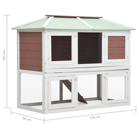 Image of Animal Rabbit Cage Double Floor White and  Brown Wood Product Dimension Everyday Pets