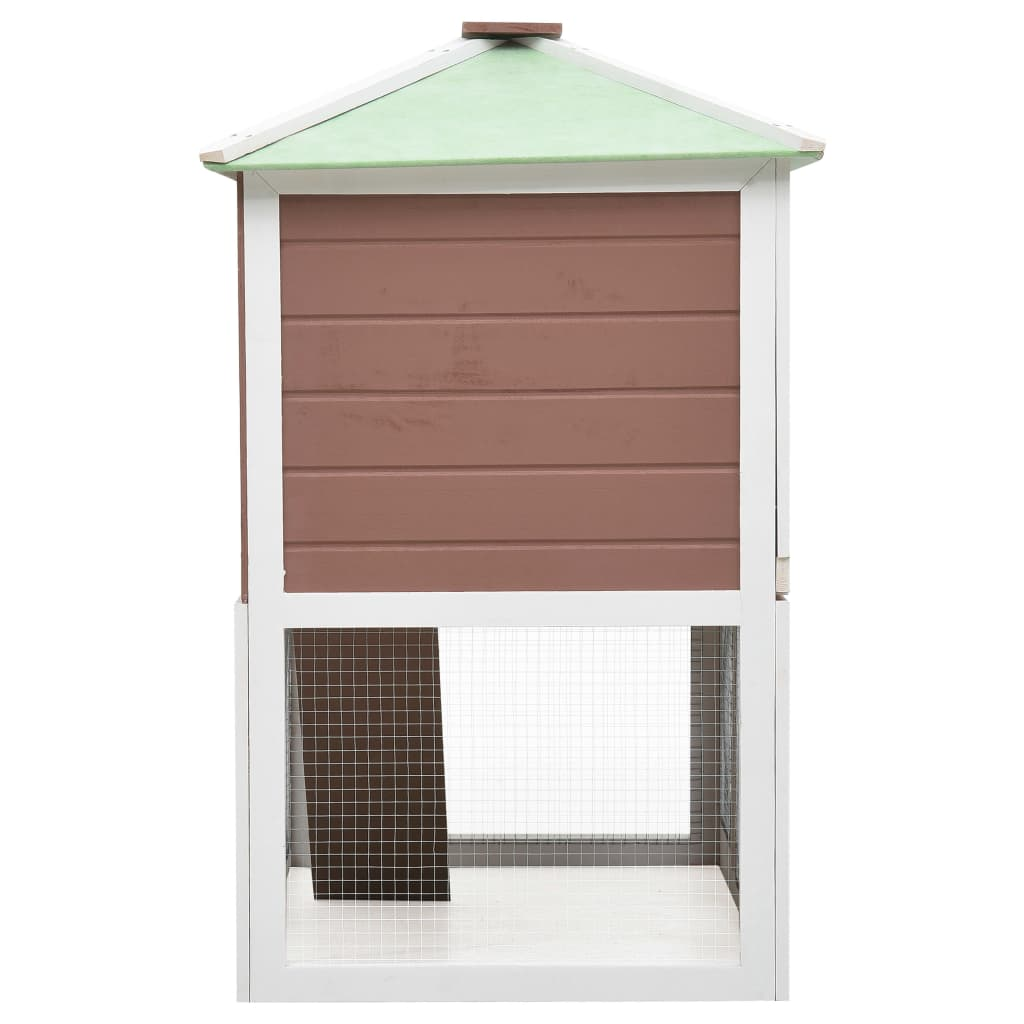 Animal Rabbit Cage Double Floor White and  Brown Wood 130 x 68 x 105 cm Fir Wood with Painted Finish Everyday Pets