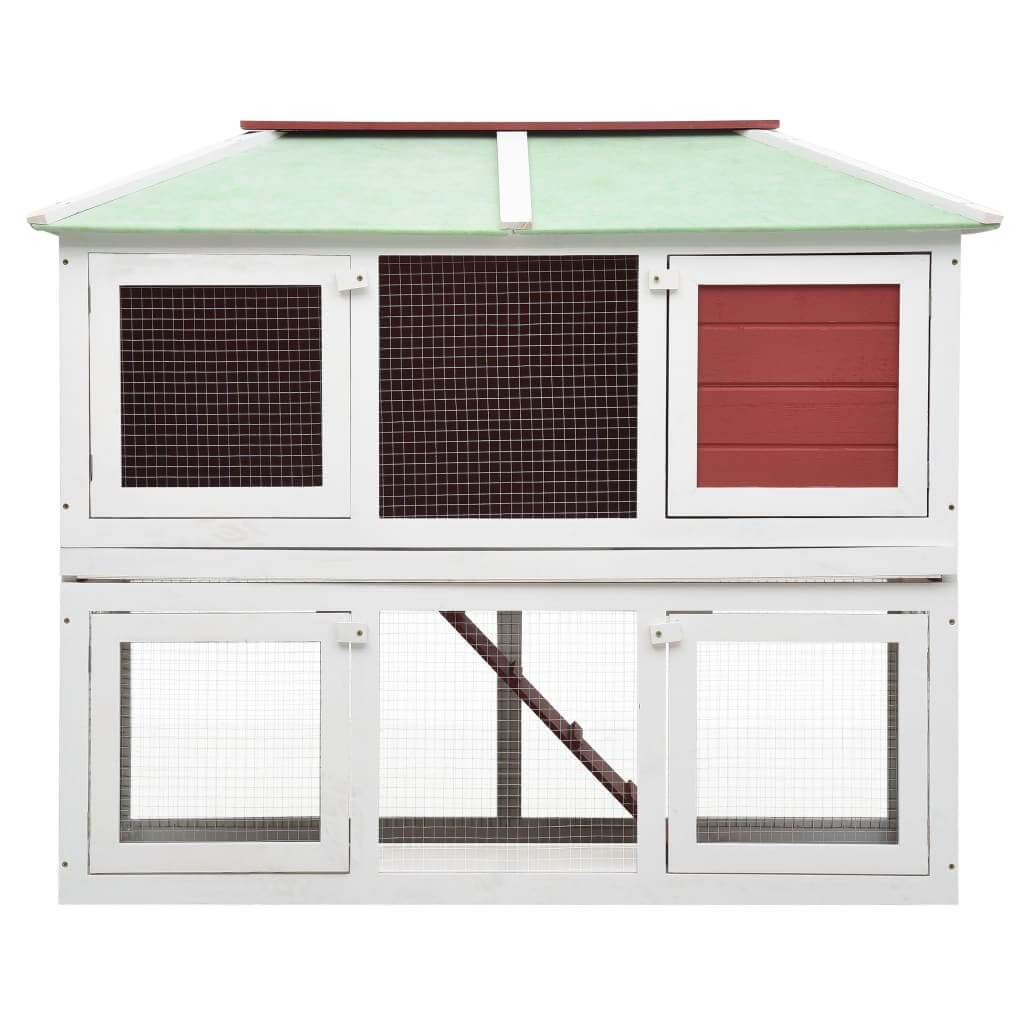Animal Rabbit Cage Double Floor White and Red Wood 130 x 68 x 105 cm High Quality Hutch 2 Layers Everyday Pets