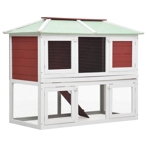 Image of Animal Rabbit Cage Double Floor White and Red Wood 130 x 68 x 105 cm Everyday Pets
