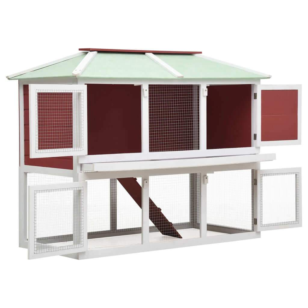 Animal Rabbit Cage Double Floor White and Red Wood 130 x 68 x 105 cm Safe Enclosure Animal Hutch Everyday Pets
