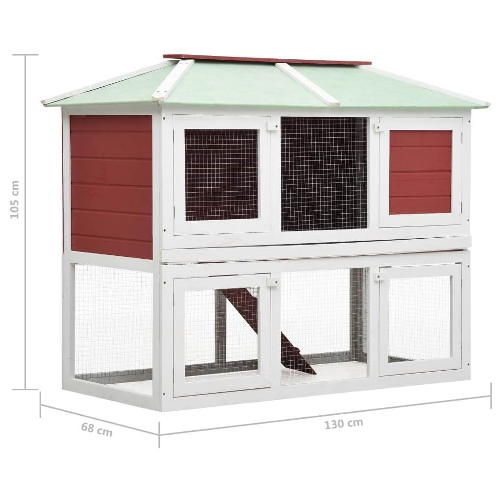 Animal Rabbit Cage Double Floor White and Red Wood Product Dimension Everyday Pets