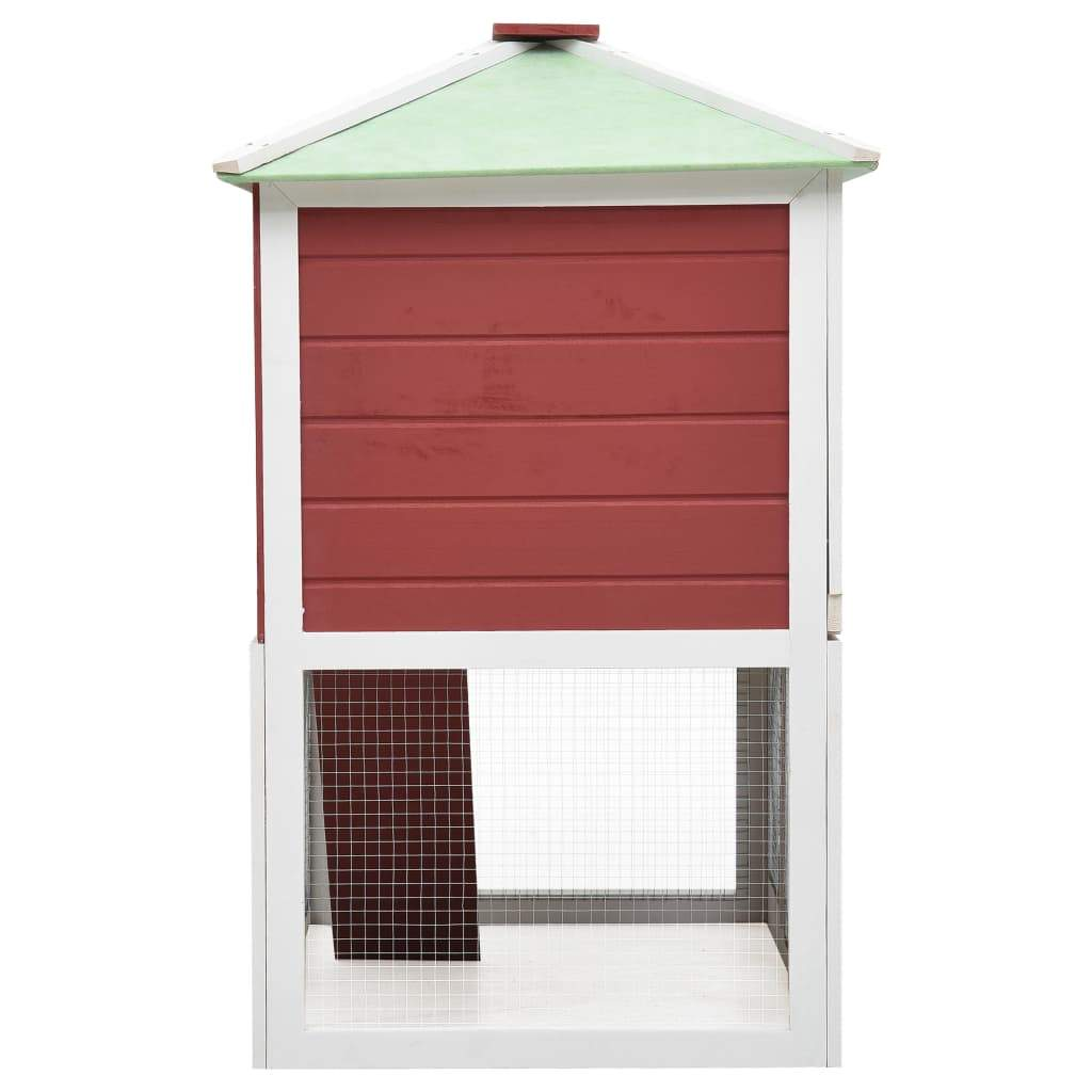 Animal Rabbit Cage Double Floor White and Red Wood 130 x 68 x 105 cm Fir Wood with Painted Finish Everyday Pets