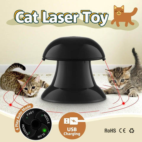 Image of Automatic Dart Cat Laser Toy Interactive Pointer Light Pet Training Teaser Chase Toy - Black 4 Play Auto Mode USB Charging