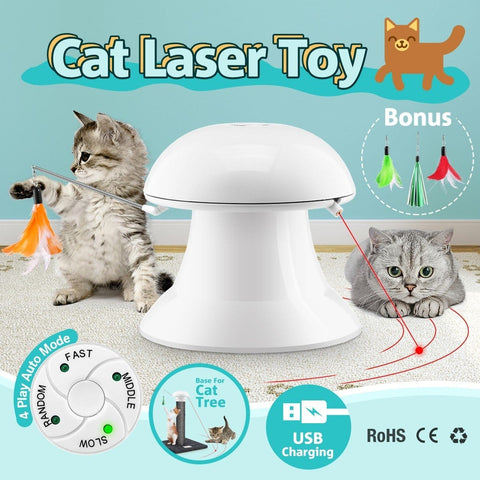 Image of Automatic Dart Cat Laser Toy Interactive Pointer Light Pet Training Teaser Chase Toy - White