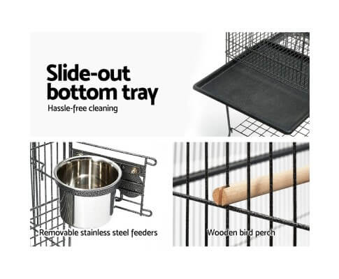 Aviary with Slide Out Bottom Tray and 2 Wooden Perches