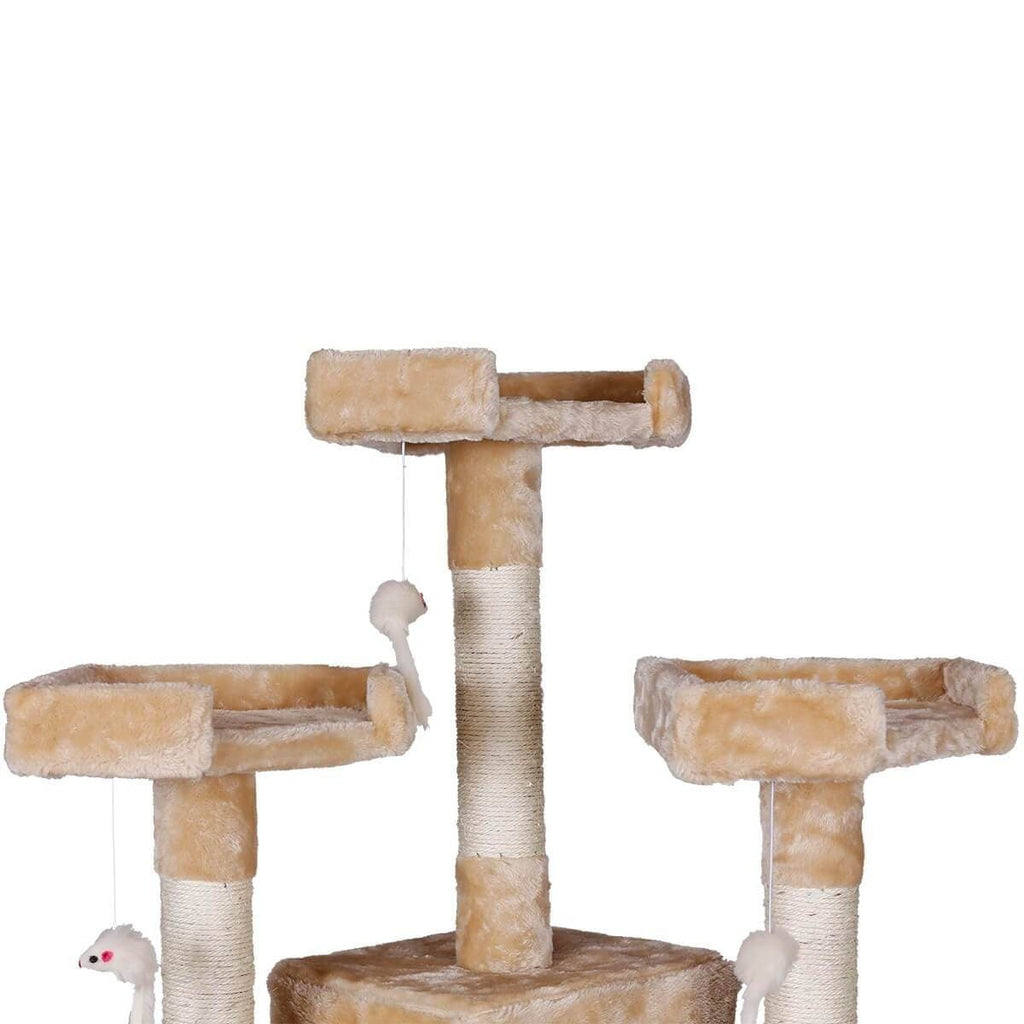 Beige Cat Tower Cradle Soft Plush Tower Play Gym Condo