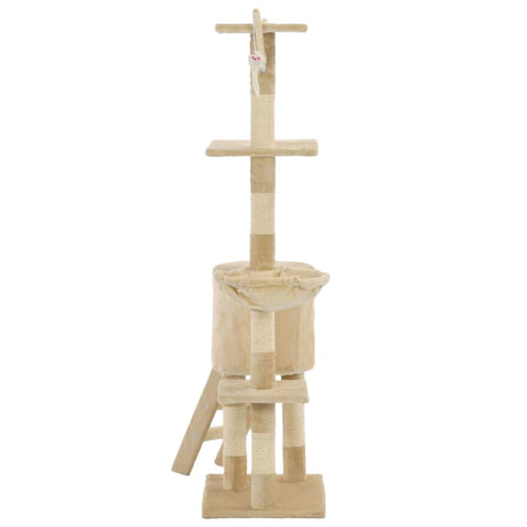 Image of Beige Cat Tree with Sisal Scratching Posts 138 cm Soft Plush Carpeted Poles Everyday Pets