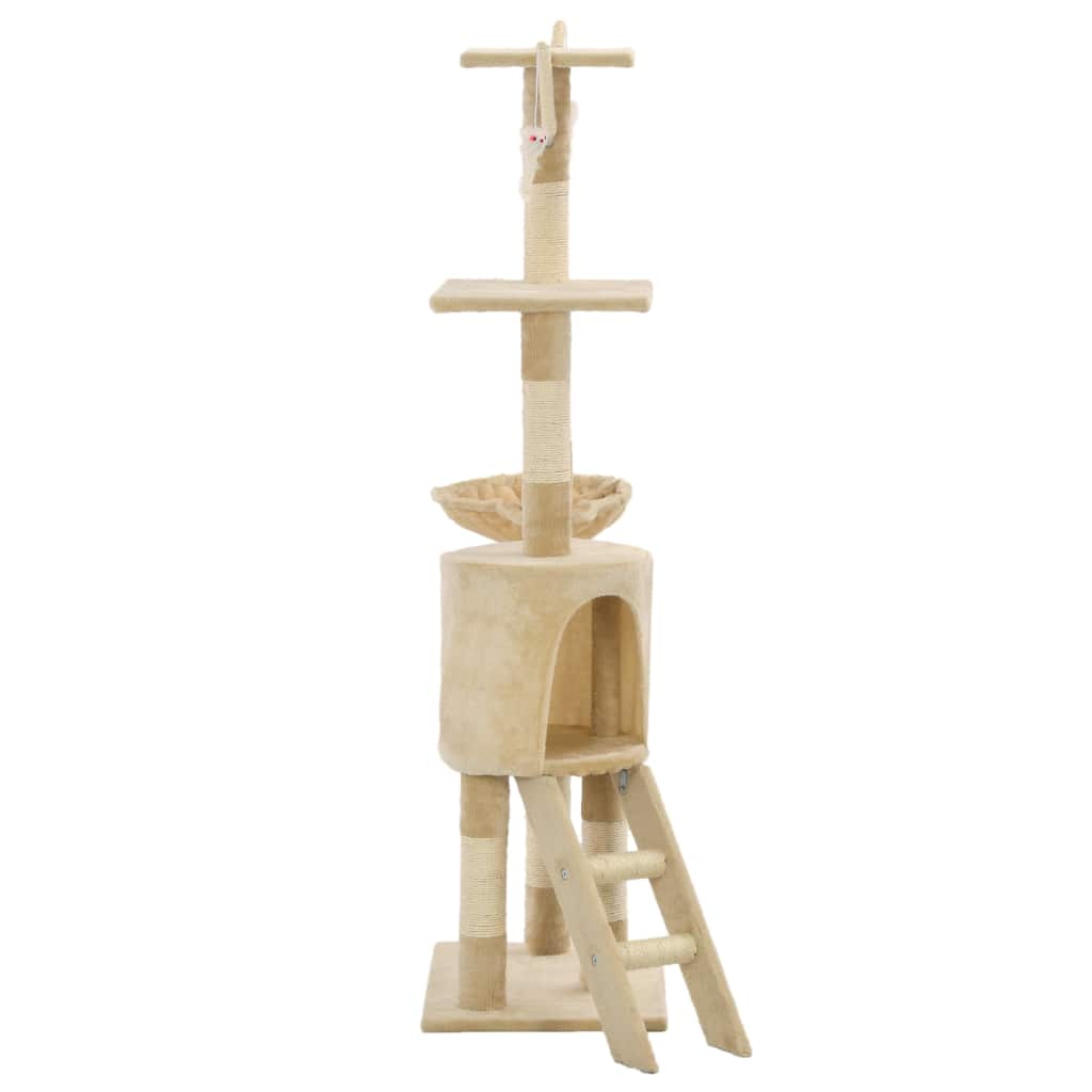 Beige Cat Tree with Sisal Scratching Posts 138 cm Sturdy and Stable Base Everyday Pets